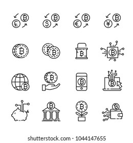 cryptocurrency thin line icon set 1, vector eps10.