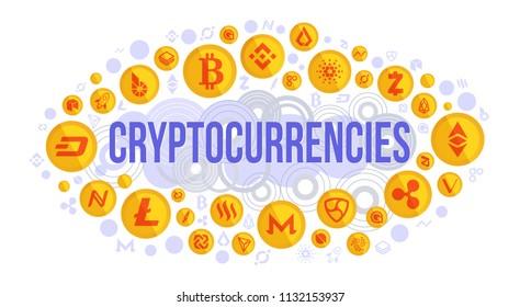 Cryptocurrency vector background - bitcoin, litecoin, ethereum, monero, ripple, zcash, dash, stratis, nem, featerhcoin, binance, namecoin, cardano, bitshares, bytecoin.
