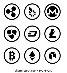 Cryptocurrency or virtual currencies black icon set isolated