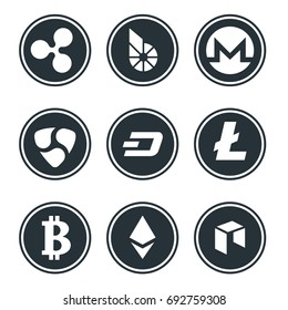 Cryptocurrency or virtual currencies icon set isolated