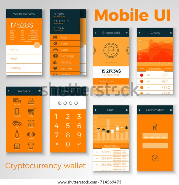 Cryptocurrency Wallet Mobile Ui All Screens Stock Vector