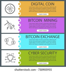 Cryptocurrency web banner templates set. Bitcoin exchange, mining, digital coin, cybersecurity. Website menu items with linear icons. Vector headers design concepts