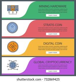 Cryptocurrency web banner templates set. Minig hardware, digital coin, stratis, global cryptocurrency. Website color menu items. Vector headers design concepts