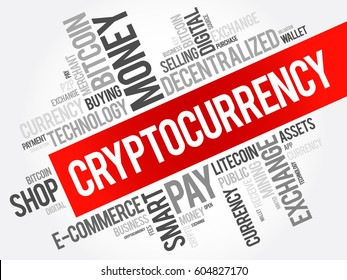 Colección de nubes de palabras CryptoCurrency, fondo de concepto de negocio