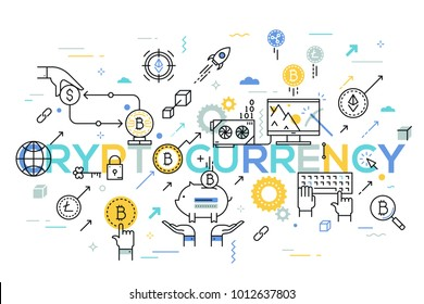 Cryptocurrency word surrounded by cryptocoins or digital currency coins, computer with bitcoin mining farm. Modern infographic banner with elements in thin line style. Vector illustration for website.