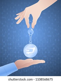 Cryptographic Key Of Dash Currency. Illustration on the subject of 'Crypto-Currency Technology'.