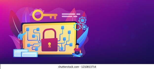 Cryptographic officer and system administrator create algorithm code for key owner of blockchain. Cryptography and encryption algorithm concept. Header or footer banner template with copy space.