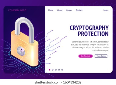 Cryptography protection, vector web banner isometric concept. Large lock with combination lock and electronic digital connections, Internet security from cybercrime, safety, landing website page