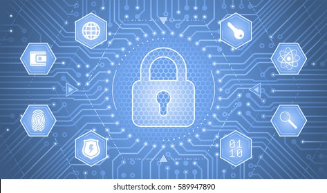 Cryptology Concept. Illustration / infographical template on the subject of Cryptology / Cybersecurity.