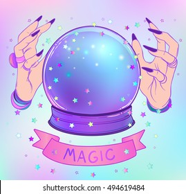 Crystal Ball with female hands with female hands. Creepy cute vector illustration. Gothic design, mystic magic symbol, pastel colors. Future telling, Halloween concept.