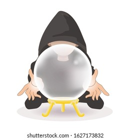 Crystal ball and Fortune teller wearing a cape / Vector illustration of Transparent Crystal ball.