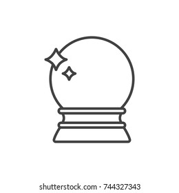 Crystal ball, fortune telling line icon.