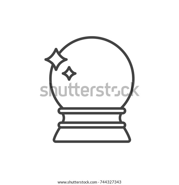 Crystal Ball Fortune Telling Line Icon Stock Vector (Royalty Free