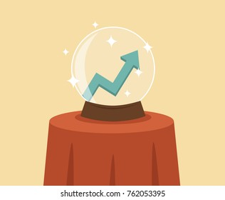 Crystal ball with growth graph vector.