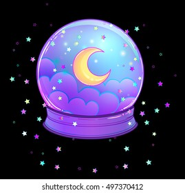 Crystal Ball with with rainbow moon and colorful stars, clouds inside on black. Creepy cute vector illustration. Gothic design, mystic magic symbol, pastel colors. Future telling, Halloween concept.