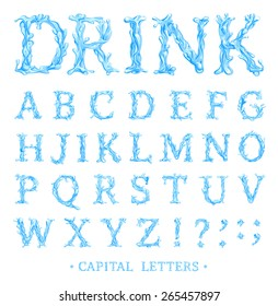 Crystal Clear Water font Part 3/3 Capital letters. Vector