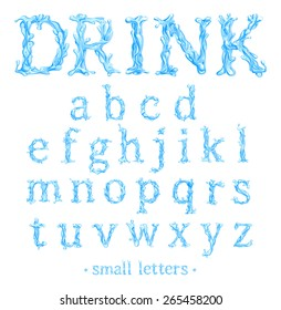 Crystal Clear Water font Part 2/3 Small Letters. Vector