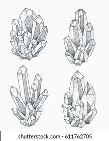 Crystal clusters vector illustration. Blackwork dotwork tattoo design.