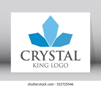 Crystal crown blue glass king abstract vector logo design template business iced cool icon company identity symbol concept