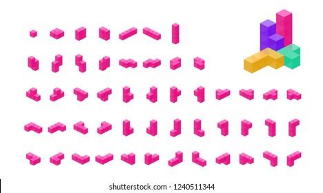 Crystal cube. 3D block set. Isometric blocks