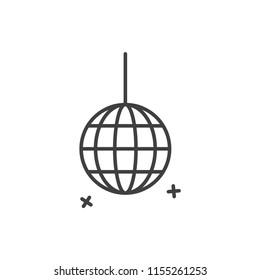 Crystal disco  ball line icon.