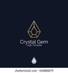 Crystal Gem or Diamond Jewelry logo template. Corporate branding identity