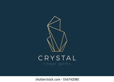 Crystal Gems Logo design vector template Linear style. Jewelry Fashion Luxury Logotype concept outline icon