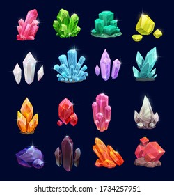 Crystal gems, vector gemstones and jewel icons. Isolated cartoon minerals, crystals and gemstones. Natural opal, emerald and diamond, ruby and topaz, quartz glass, jewelry and geology crystals