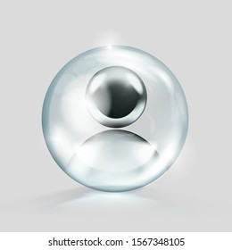 Crystal Glass Ball With Blank Chrome Avatar In It. EPS10 Vector