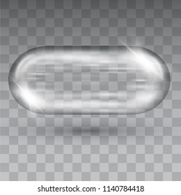 Crystal glass capsule shape container on transparent background.