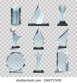 Crystal glass trophy or awards on transparent background