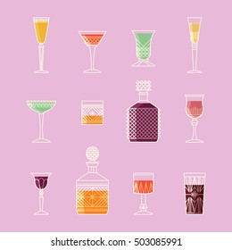 Crystal glasses vector icons set, thin line style. Isolated vector flat illustration