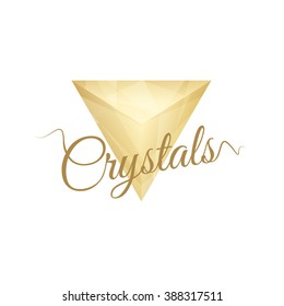 Crystal Golden Triangle for a logo. Templates for a symbol of luxury branding. Cosmetic company.