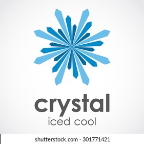 Crystal iced cool blue abstract vector logo design template business icon company identity symbol concept