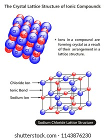 The Crystal Lattice Structure of Ionic Compounds infographic diagram with example of sodium chloride substance for chemistry science education