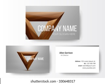 Crystal logo design on business cards template. Abstract polygon triangle. Colorful icon.