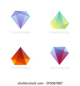 Crystal Logo emblem in geometric hipster style. Polygon Diamond Facets