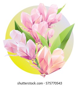 Crystal Pink flowers with Polygon green leaf, beautiful floral background for ads