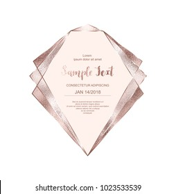 Crystal rose gold frame with pink glitter triangles, geometric and polygonal shapes.