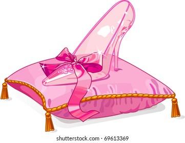 Crystal Cinderella?s slipper on pink pillow
