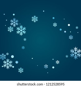 Crystal snowflake and circle elements vector design. Macro winter snow confetti scatter banner background. Flying gradient snow flakes background, awesome water crystals confetti.