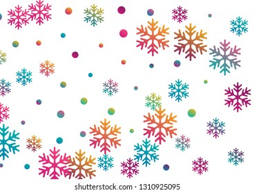 Crystal snowflake and circle elements vector design. Airy winter snow confetti scatter flyer background. Flying gradient snow flakes background, awesome water crystals confetti.