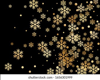 Crystal snowflake and circle elements vector illustration. Macro winter snow confetti scatter poster background. Flying colorful gradient snow flakes background, trendy water crystals vector.