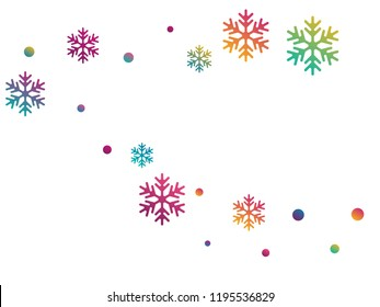 Crystal snowflake and circle shapes vector backdrop. Airy winter snow confetti scatter flyer background. Flying gradient snow flakes background, awesome water crystals vector.