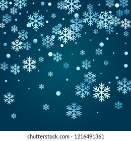 Crystal snowflake and circle shapes vector design. Minimal winter snow confetti scatter flyer background. Flying colorful gradient snow flakes background, trendy water crystals vector.