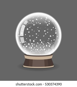 Crystal Sphere. Snowglobe vector illustration. Empty snow globe. Transparent glass ball.