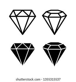 Crystal stone line icons symbol set vector illustration.  Crystal diamond jewelry