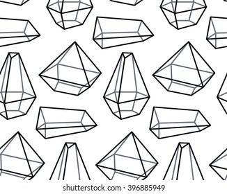Crystal terrarium seamless pattern. Vector illustration for your design. Vector set of monochrome crystal. Abstract hipster style. 3D geometric gemstone icon.