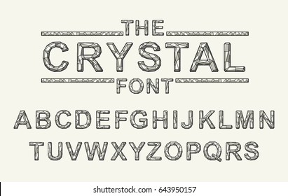 Crystal texture font. Vector alphabet with latin letters. Mosaic font.