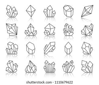 Crystal thin line icons set. Outline sign kit of gemstone. Mineral linear icon collection includes diamond, emerald, aquamarine. Simple crystal black contour symbol with reflection vector Illustration